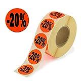 2.000 Aktionsetiketten - 20% rund leuchtrot auf Rolle 32 mm