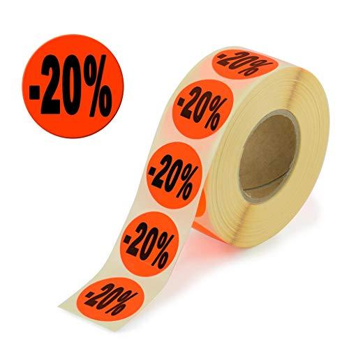 1.000 Aktionsetiketten - 20% rund leuchtrot auf Rolle 32 mm - Sonderpreis, reduziert Aufkleber, selbstklebend, permanente Preisschilder [H-20]
