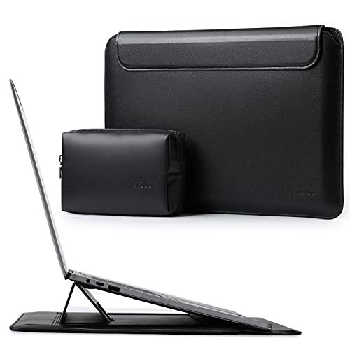 HYZUO 13 Zoll Laptop Hülle Tasche mit Stand-Funktion Kompatibel mit MacBook Air 13 M1 2018-2021/ MacBook Pro 13 M1 2016-2021/ Dell XPS 13/ Surface Pro X 7 6 5 4 3/ iPad Pro 12.9 2018-2021, Schwarz