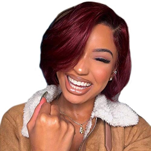 TOOCCI Lace Frontal Wigs Cap Perruque Courte en Cheveux Humains Coupe Pixie Cut Brésilienne Cheveux Latérales Coupée Pour Les Femmes Humains with Bangs