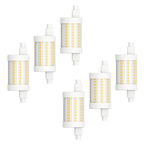 MÜLLER-LICHT Juego de 6 bombillas LED R7s, multiusos, multiusos, luz blanca cálida (2700 K), 8 W, 1055 lm