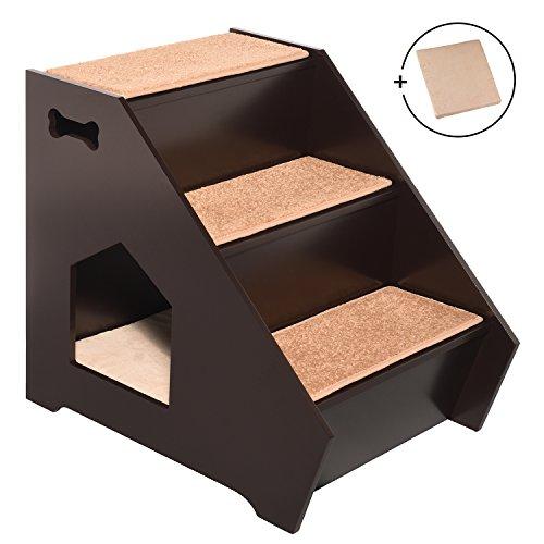 Casa para gatos con peldaños de Arf Pets; escaleras de madera para mascotas con 3 peldaños antideslizantes; caseta integrada para que perros