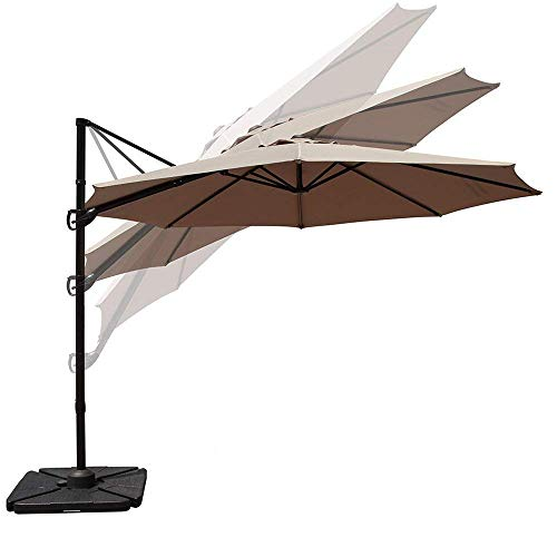 COBANA 10 Ft Offset Cantilever Outdoor Patio Hanging Umbrella 360° Rotation with Cross Base, Beige