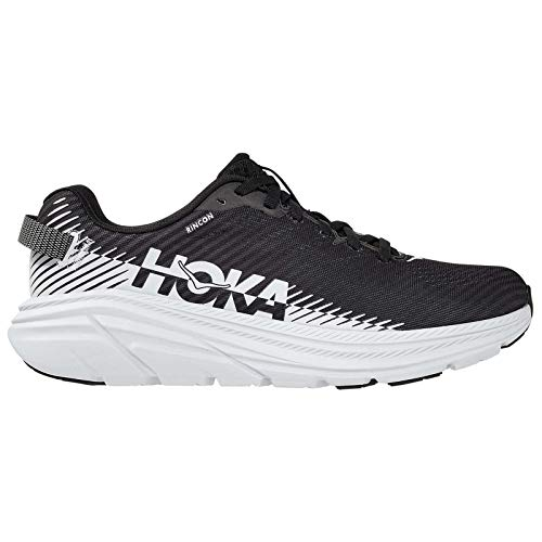 HOKA ONE ONE Women's Rincon 2 Road Running Shoe (Black/White, Numeric_7_Point_5)