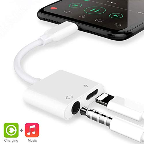 Adaptador para iPhone 8 Adaptador Jack de 3,5 mm Conector de Auriculares Adaptador Compatible con iPhone 8/8Plus/ 7/7Plus/11/11Pro/X/XS MAX Convertidor de Audio Compatible con Todos los iOS - Blanco