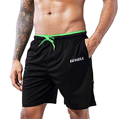 """LUWELL PRO Men's 7"""" Running Shorts with Pockets Quick Dry Breathable Active Gym Shorts for Workout,Training,Jogging(0607Black,M)"""