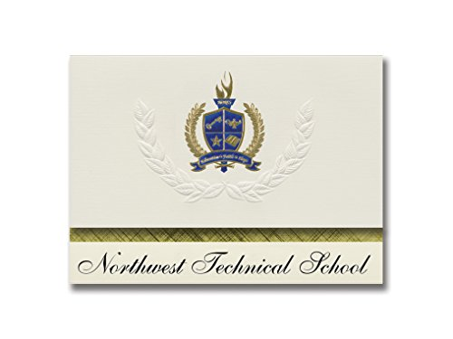 Signature Announcements Northwest Technical School (Maryville, MO) Graduation Announcements, Presidential style, Elite package of 25 with Gold & Blue Metallic Foil seal -  Signature Announcements, Inc, PAC_ELITEPres_HS25_118188_206044
