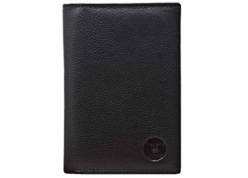 Frédéric & Johns® - Portafoglio in vera pelle di vacchetta molto pratica -Portadocumenti da viaggio in pelle porta passaporto - 22 scomparti per carte - uomo o donna (Nero)