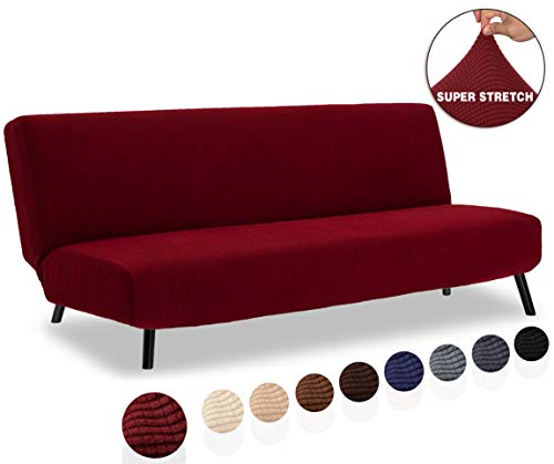 TIANSHU Armless Sofa Cover, Stretch Sofa Bed Cover , Anti-Slip Protector for Couch Without Armrests, Spandex Jacquard Fabric Slipcover Futon Cover (Futon, Dark Wine)