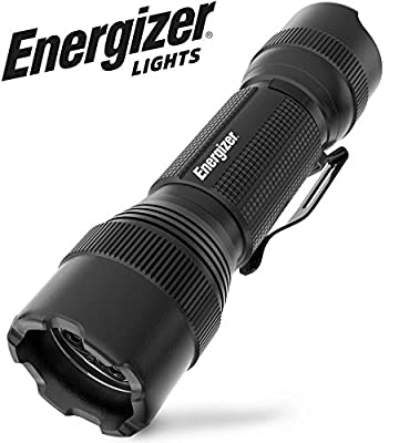 Energizer Tac-800 LED Tactical Flashlight, Holster Included, IPX4 Water Resistant, Super Bright, Durable Metal Build, Batteries Included, Black