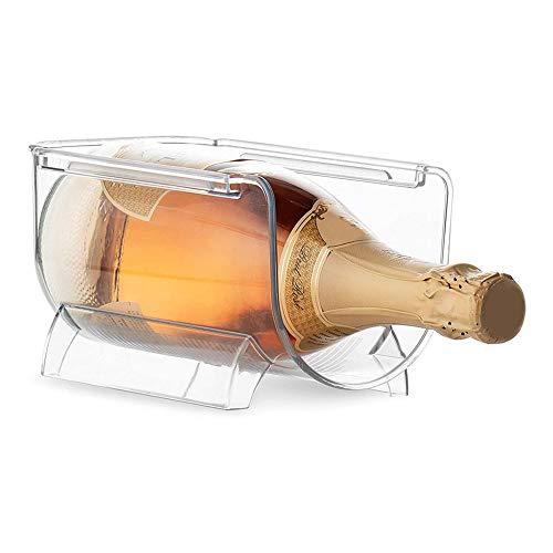 Fridge Botellero de Vino para 1 Botella, Estante apilable en plástico, botellero para frigorífico,Soporte para Botellas de Vino y Otras Bebidas