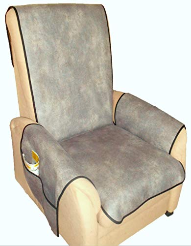 Holzdrehteile Sesselschoner Sesselauflage Sesselbezug Schoner Überwurf Auflage Lederoptik Graubraun