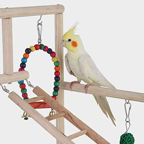 PETAMANIM Vogelspielplatz Holz Hängebrücke Haustier Hängeleiter Treppe Klettern Schaukel Doppelschicht-Spielzeug für Vogel Sittich Hamster Wellensittich Nymphensittich Papagei