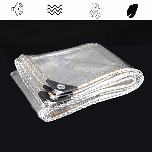 Teloni Impermeabile Trasparente, Foglio di Tela Cerata Resistente Resistente Alla Polvere e Alla Pioggia Copertura Antivento con Occhielli, 320g / ㎡ (Size : 3X4m)