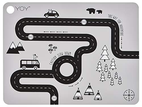OyOy Mini Adventure Placemat: Kinder Baby Platzset mit Strasse Abwaschbar Abwischbar 100% Silikon Ø 39 cm - 1100956