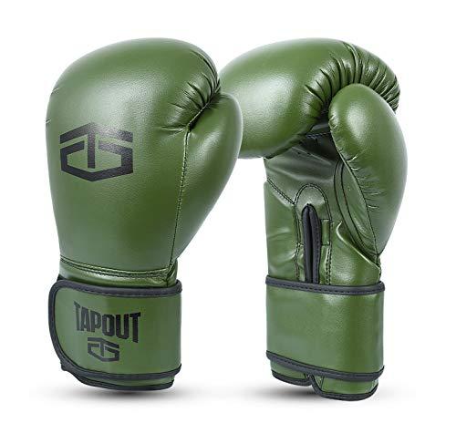 Tapout Boxhandschuhe Erwachsene Boxen Punchinghandschuhe Dura-Leder PU für männer Training Sparring Classic (Militärgrün, 14 oz)