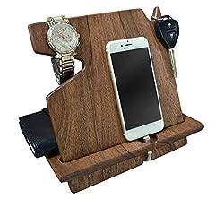 Holz Telefon Walnuss-Dockingstation Schlüsselhalter Mappenstand Uhr Veranstalter