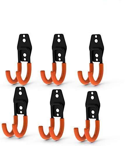 CoolYeah Stahlgarage Storage Utility Doppelhaken, robust für die Organisation von Elektrowerkzeugen, kleine J Haken (6 Stück, 11,9 x 4,9 x 6,4 cm)