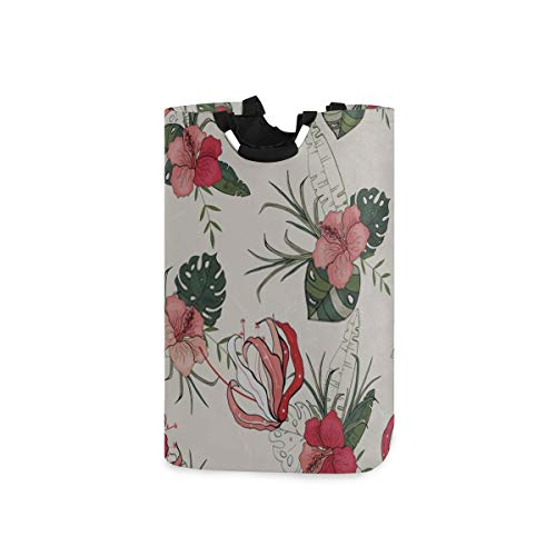 ZANSENG Colapsable Laundry Baskets,Blooming Flowers Realistic Isolated Seamless Flower Waterproof Portable Storage Bag with Carry Aluminium Handles for Dirty Clothes