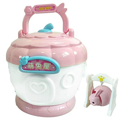 precauti Juego portátil para casa de juegos de simulación de casa de juguete plegable para niños, rompecabezas de casa de muñecas de colores