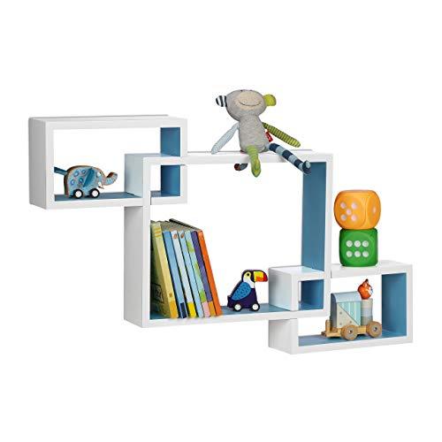 Relaxdays Cube Regal, 3 Fächer, Wandregal zum Stecken, MDF, dekorativ, Kinderzimmer, HxBxT: 48 x 70,5 x 10 cm, blau/weiß