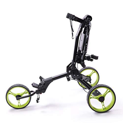 3-Rad Golftrolley, Golfwagen Golf Klappbar, Golf Push Trolley, Golf Push Cart, Golf Push Cart Aus Aluminum, Golfcaddy Mit Schirmhalter Und T-Stückhalterung, Einfach Zu Tragen Und Zu Falten