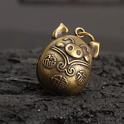 Drawihi Copper Blessing Pig Small Bell Keychain Pendant Brass Metal Chinese Zodiac Symbolic Animal Key Chains Bag
