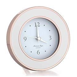 Addison Ross Rose Gold White Enamel Round Alarm Clock