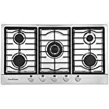 GoodOmen 36' Gas Cooktops 5 Burners Gas Stove Stainless Steel Cooktop Cast Iron Grates Built-in Gas Hob LPG/NG Gas Cooker Stove Oven with Thermocouple Protection