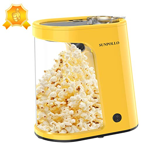 Electric Hot Air Popcorn Popper Machine, 1200W Fast Popcorn Maker with Measuring Cup and Removable Container, Oil-Free, Great for Home Party Kids, Safety ETL Approved, Yellow