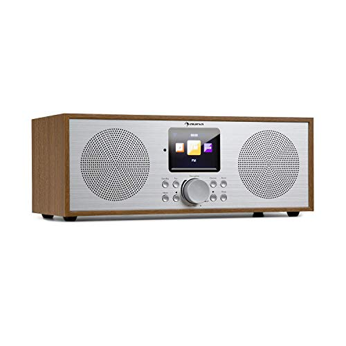 auna Silver Star - Radio estéreo con Internet Dab+ / FM, WiFi, Bluetooth, Potencia de 2 x 8 W RMS, USB, Control por móvil, AUX, Función Despertador, Mando a Distancia, Pantalla HCC 2,8'', Marrón