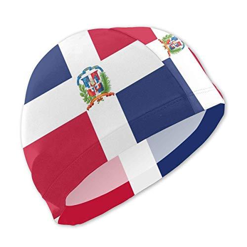 Zhgrong Gorras de natación con Bandera de la República Dominicana Gorra de baño cómoda e Impermeable para niños