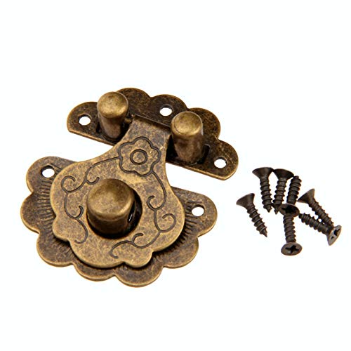 Use Metal Decorative Buckles Inside and Outside 1Pc 40x36mm Antique Bronze Hasps Lock Decorative Jewelry Wood Box Padlock Retro Suitcase Latch Hook with Screws Vintage Hardware