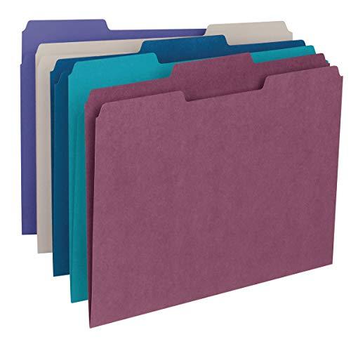 Smead Colored File Folder, 1/3-Cut Tab, Letter Size, Assorted Jewel Tone Colors, 100 per Box (11948)