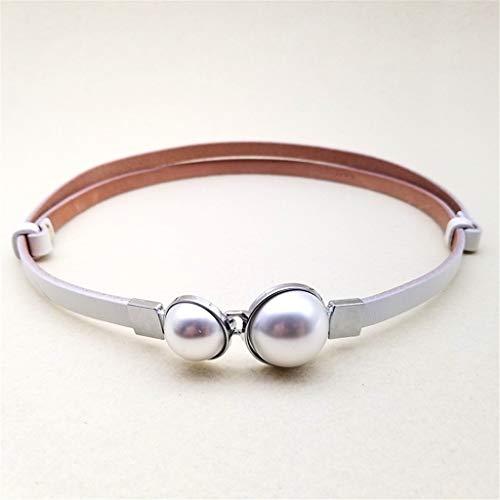 cintura Ideale per jeans Fine Strass moda abito decorativo con fibbia perla catena vita bianco 90
