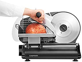 Chefman Electric Deli & Food Slicer Die-Cast Machine for Home Use Slice Meat, Cheese, Bread, Fruit & Vegetables, Adjustable Thickness, Blade, Safe Non-Slip Feet, Easy to Clean, Black, Stainless Steel
