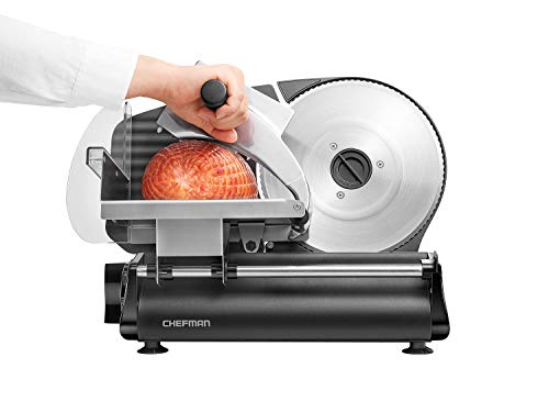 Chefman Electric Deli & Food Slicer Die-Cast Machine for Home Use Slice Meat, Cheese, Bread, Fruit & Vegetables, Adjustable Thickness, Blade, Safe Non-Slip Feet, Easy to Clean, Black Stainless Steel