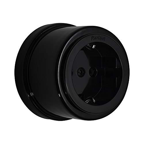 FONTINI – Garby – Toma con tierra Schuko de porcelana negra 16 A-250 V ref. 30204273
