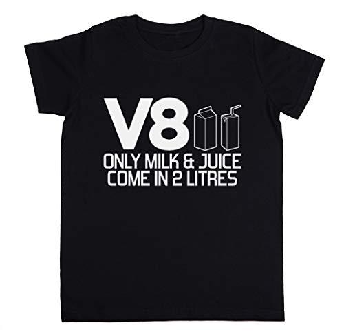 V8 - Only Milk & Juice Come In 2 litres Unisex Kinder Jungen Mädchen T-Shirt Schwarz Größe S Unisex Kids Boys Girls's T-Shirt Black Size S