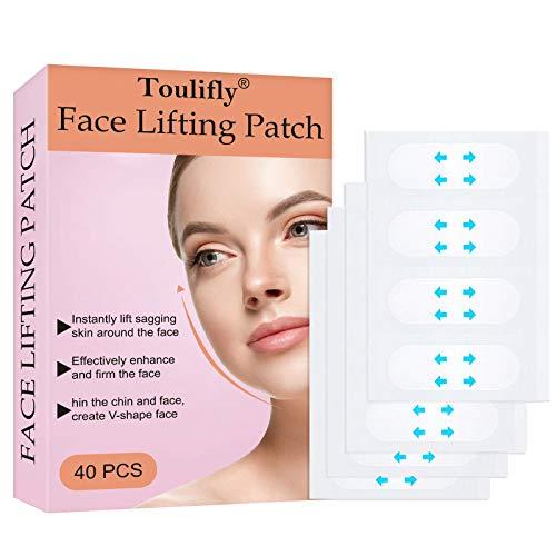 Facelifting Aufkleber,Face Lifting Tape,Face Lift Sticker,Lift Gesicht Aufkleber,Unsichtbare Dünne Gesicht Aufklebe,Facelifting Klebeband,V-Form Face Lift Patch Face Lift Tools für Gesicht(40 stück)