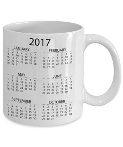 Ceramic Coffee White Mug (11 Ounce) Unique Happy New Year 2017 Calendar New Years