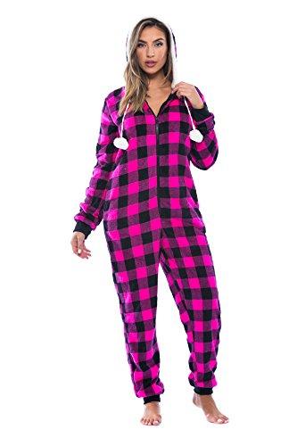6290-FUS-M Just Love Adult Onesie / Pajamas, Fuchsia Buffalo Plaid, Medium