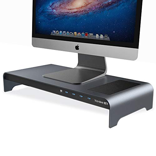 Aluminium Monitor Stand Riser mit kabellosem Laden und 4 USB-Anschlüssen für Datenübertragung und Laden, Tastatur- und Mausspeicher bis zu 32 Zoll für Computer-PCs und Laptops (Grau)