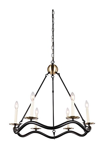 "Dst Matter Black and Antique Brass Finish Chandelier Ceiling Pendant Light for Living Room, Bedroom, Dining room, Kitchen and so on. Diameter 70cm/27.56"",Height: 60cm/23.6"" Chain Length 150cm"