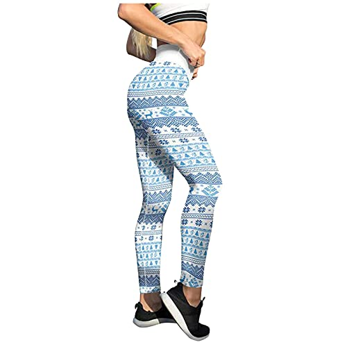 Briskorry Legging de Noël pour femme - Taille haute - Doux - Élastique - Opaque - Pour yoga et fitness - Rouge, Bleu 7., XXL