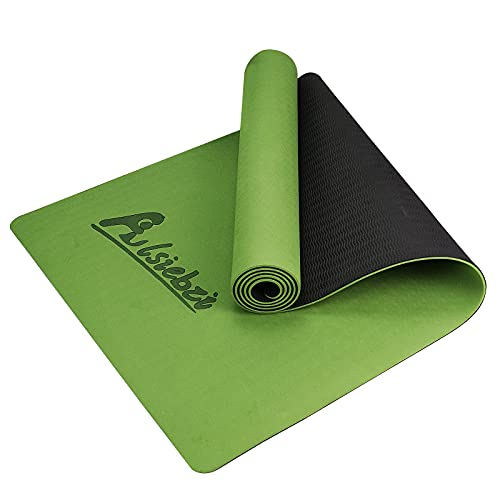 Alsiebzi Yoga Mat, 6mm Non-Slip TPE Yoga Mat with Carrying Strap, Eco Friendly Fitness Exercise Mat, Workout Mat for…