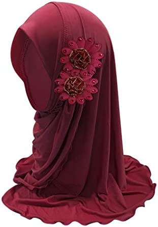 Kids Girls Lovely Muslim Hijab with Flowers Anti UV Sun Protection Breathable One Piece Islamic product image