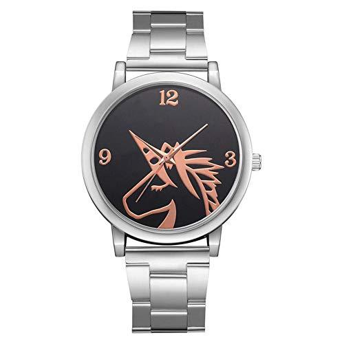 Analoge horloge, modieuze dames quartz horloge met aluminium armband en enkel Horse Design wijzerplaat