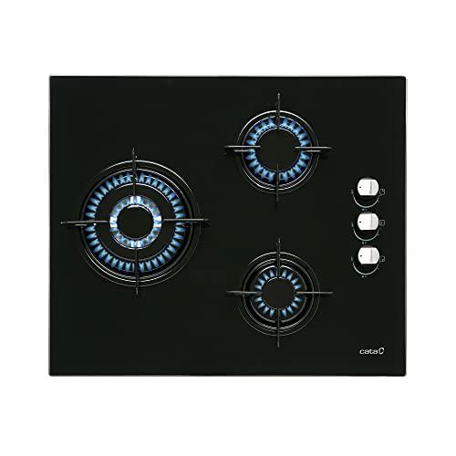 Cata Placa Cristal Gas, Modelo CIB 6021 BK, 3 Fuegos, Ancho 59 cm, Encimera de Gas Butano, Acabado en Cristal Negro