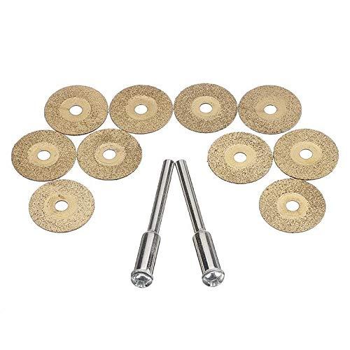 JIAN LIN Disco de Corte de Metal de Muelle de Diamante 10pcs para Herramienta rotativa con 2 Mandril para el Conjunto de Herramientas eléctricas de Cortador de Metal (Size : 18mm)